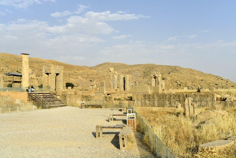 Persepolis Takht-e-Jamshid eller Taxt e Jamsid eller biskopsstol av Jamshid, huvudstad av Achaemenidvälden, Shiraz, Fars, Iran, J arkivfoto