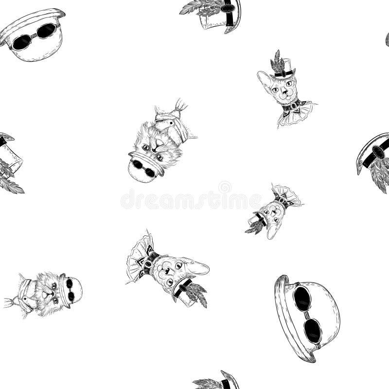 Perser och sphynxkatt i steampunk eller retro stil seamless modell vektor illustrationer