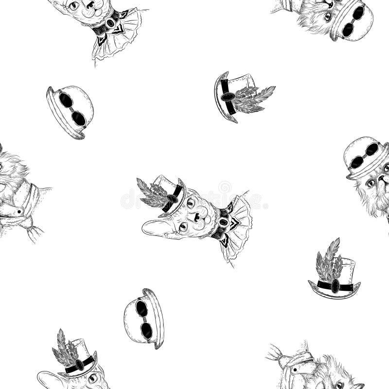 Perser och sphynxkatt i steampunk eller retro stil seamless modell royaltyfri illustrationer