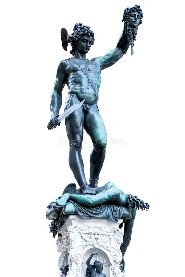 Perseus雕象与水母头的在佛罗伦萨 库存照片