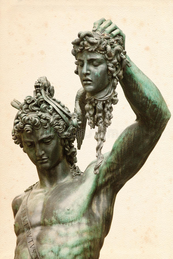 Perseus avec la méduse Gorgon photographie stock libre de droits
