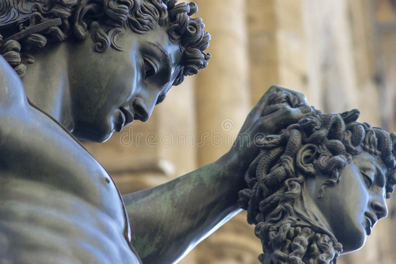 Perseus holdin medusa head in florence italy mithology stock images