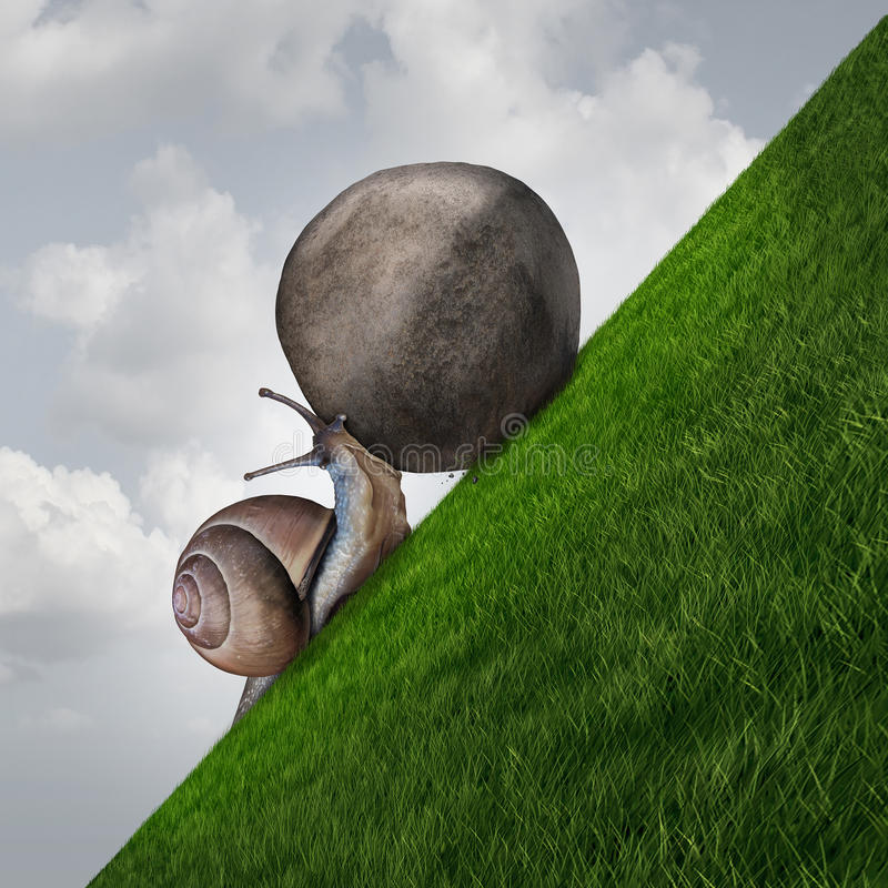 Perseverance. Symbol and sisyphus symbol as a determined snail pushing a boulder up a grass mountain as a metaphor persistence and determination to succeed stock illustration