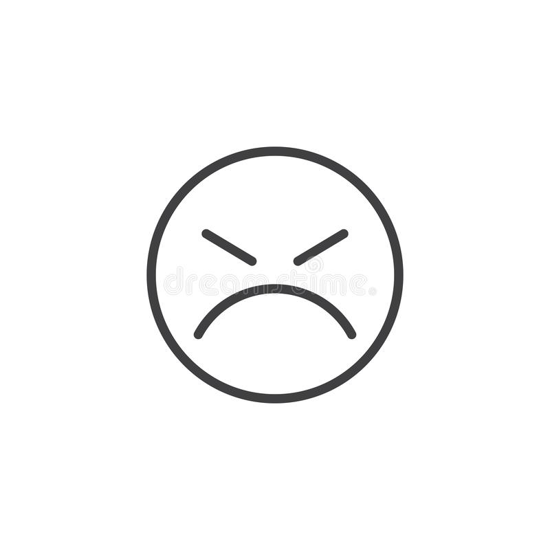 Persevering Face emoji line icon. Linear style sign for mobile concept and web design. Angry Face emoticon outline vector icon. Symbol, logo illustration stock illustration