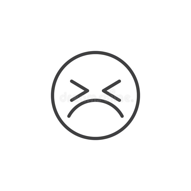 Persevering Face emoji line icon. Linear style sign for mobile concept and web design. Angry face emoticon outline vector icon. Symbol, logo illustration vector illustration