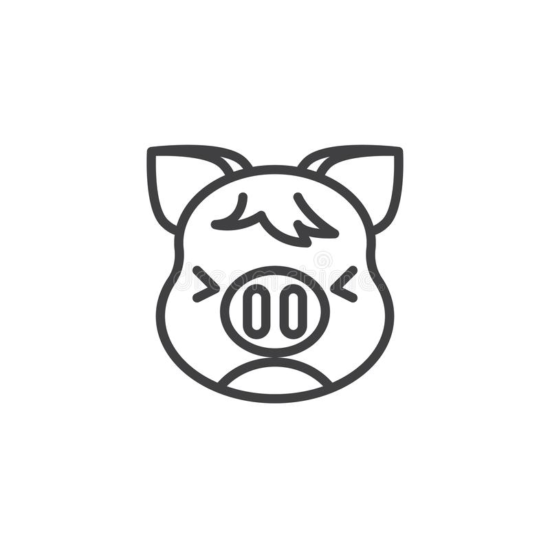 Persevering Piggy Face Emoji line icon. Linear style sign for mobile concept and web design. Unhappy piggy face emoticon outline vector icon. New year Pig head stock illustration