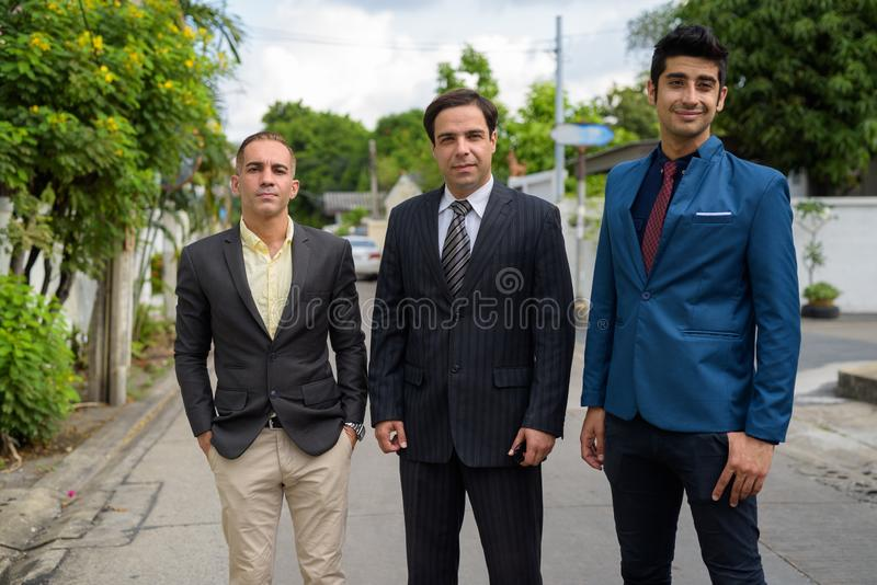 Persian businessmen exploring the city of Bangkok together royalty free stock photos