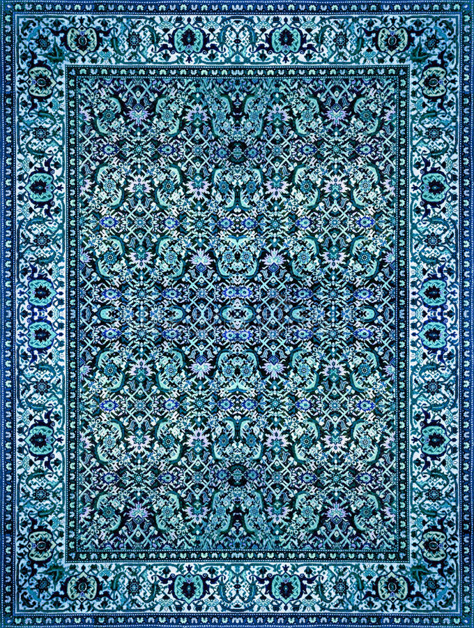 Persian Carpet Texture, abstract ornament. Round mandala pattern, Middle Eastern Traditional Carpet Fabric Texture. Turquoise milk. Y blue grey brown yellow red stock photo