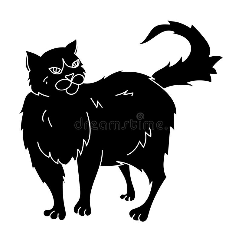 Persian Cat Icon In Black Style Isolated On White Background Cat