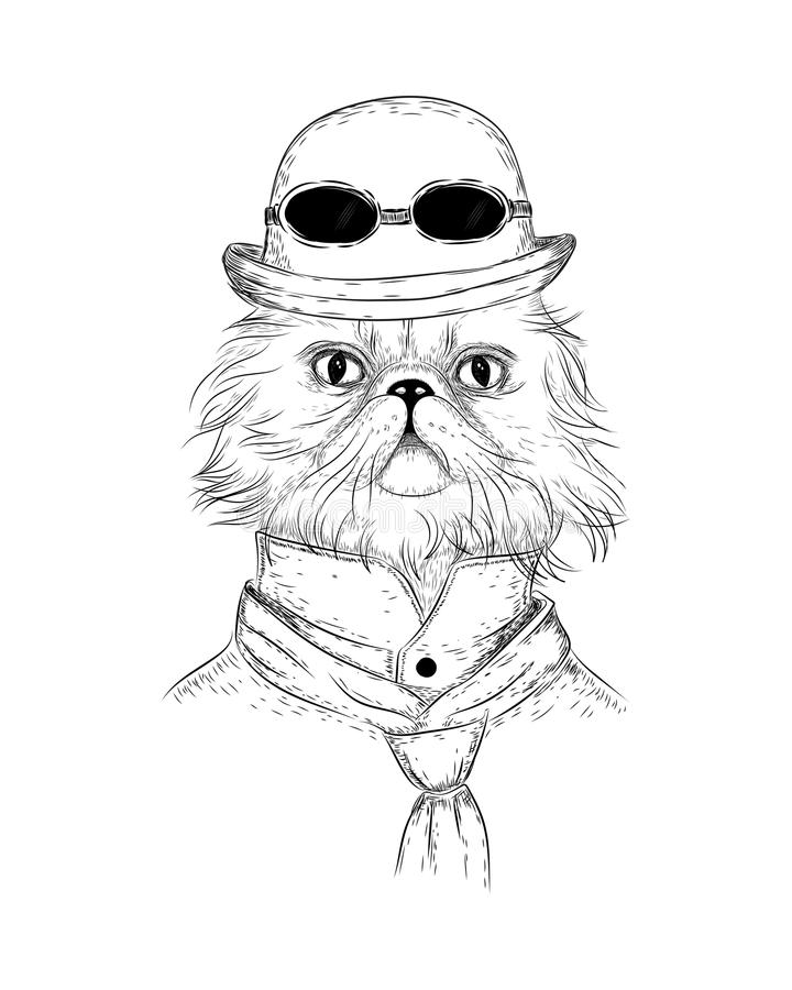 Persian cat in steampunk or retro style. Vector character cat in retro bowler-hat with round sunglasses and suit and tie. For interior or textile prints royalty free illustration