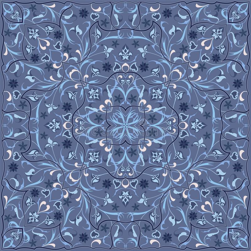 Persian colored carpet. Ancient Arabic pattern. Blue Persian carpet with rich ornament for fabric design, interior decoration, textile scarf stock illustration