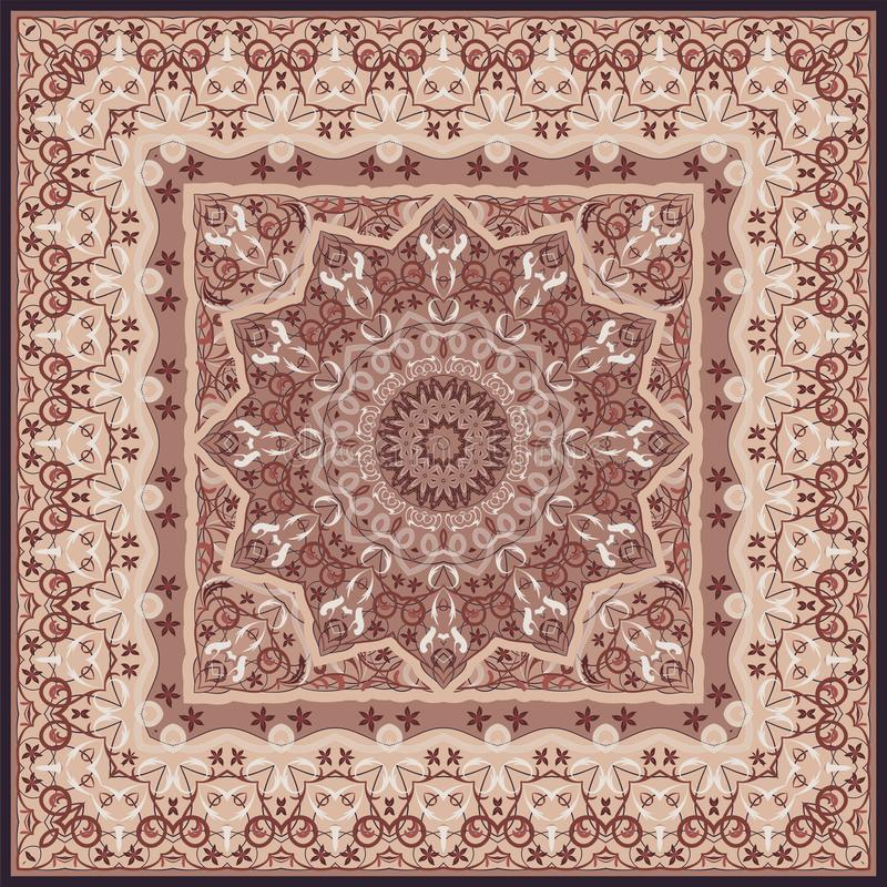 Persian colored carpet. Ancient Arabic pattern. Red Persian carpet with rich ornament for fabric design, handmade, interior decoration, textile stock illustration