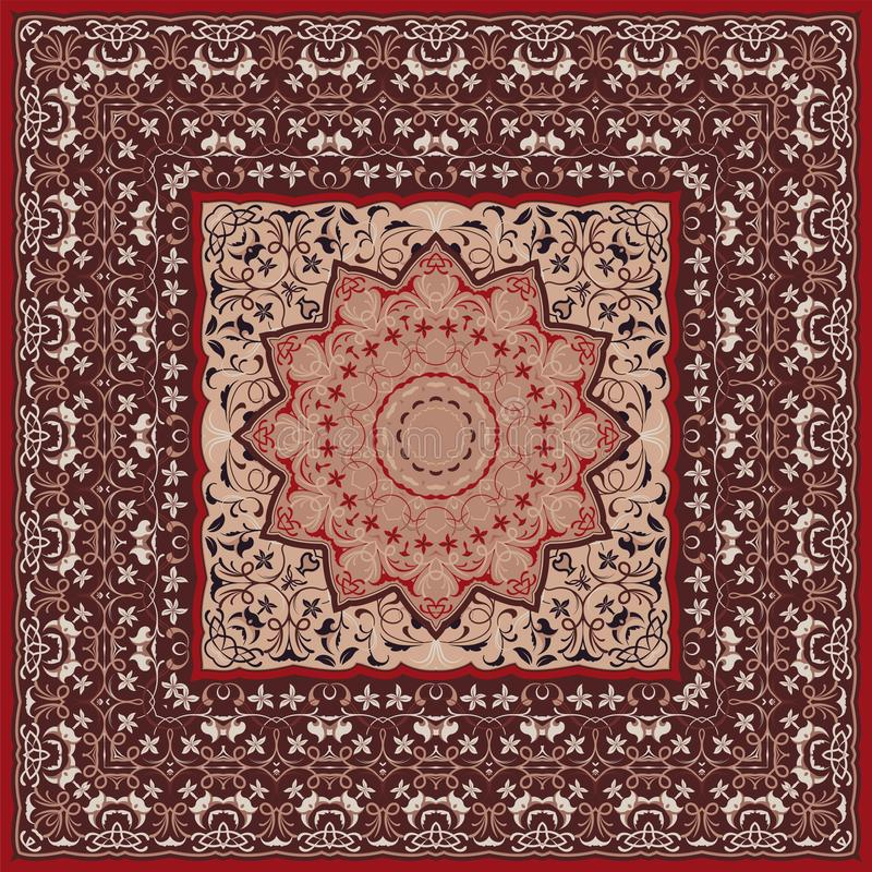 Persian colored carpet. Ancient Arabic pattern. Red Persian carpet with rich ornament for fabric design, handmade, interior decoration, textile royalty free illustration