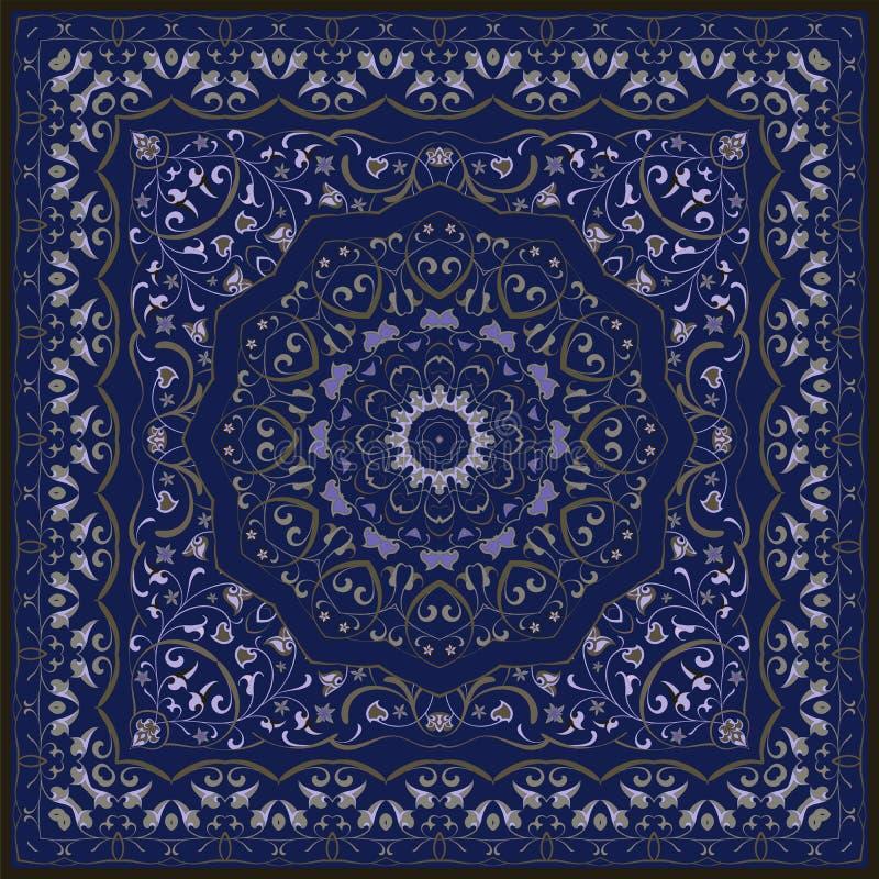 Persian colored carpet. Vintage Arabic pattern. Persian colored carpet. Rich ornament for fabric design, handmade, interior decoration, textiles. Blue background stock illustration