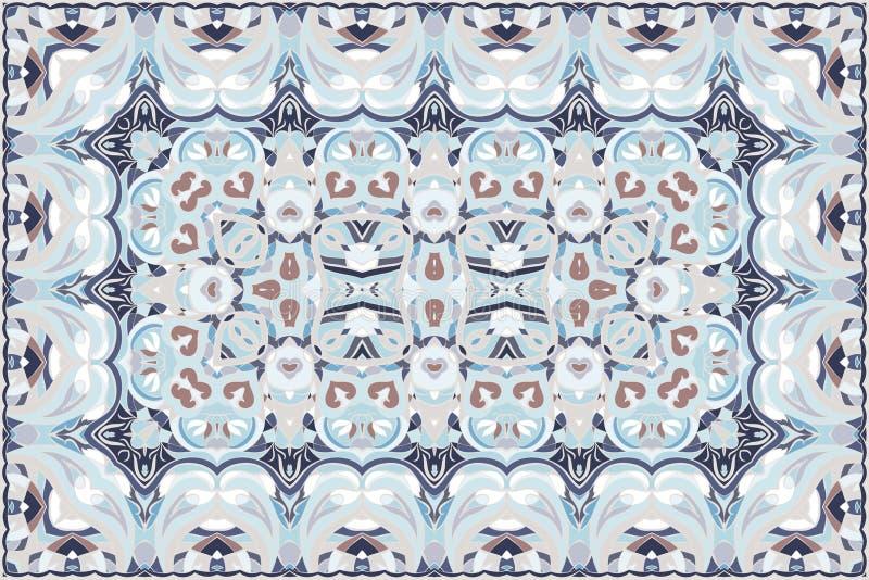 Persian colored carpet. Vintage Arabic pattern. Persian colored carpet. Rich ornament for fabric design, handmade, interior decoration, textiles. Blue background vector illustration