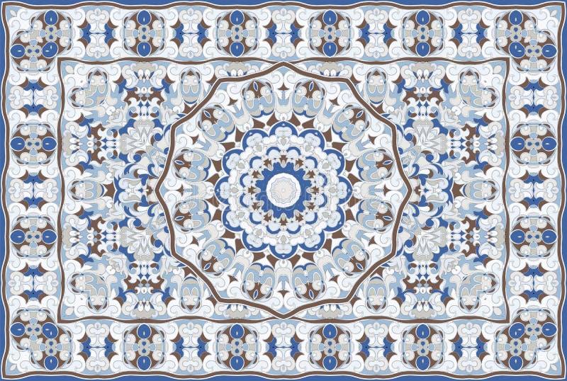 Persian colored carpet. Vintage Arabic pattern. Persian colored carpet. Rich ornament for fabric design, handmade, interior decoration, textiles. Blue royalty free illustration
