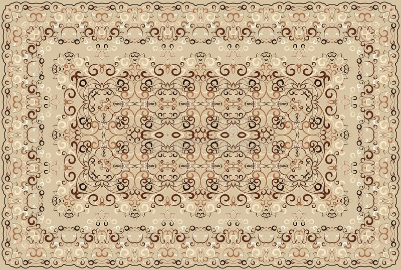 Persian colored carpet. Vintage Arabic pattern. Persian colored carpet. Rich ornament for fabric design, handmade, interior decoration, textiles. Brown vector illustration