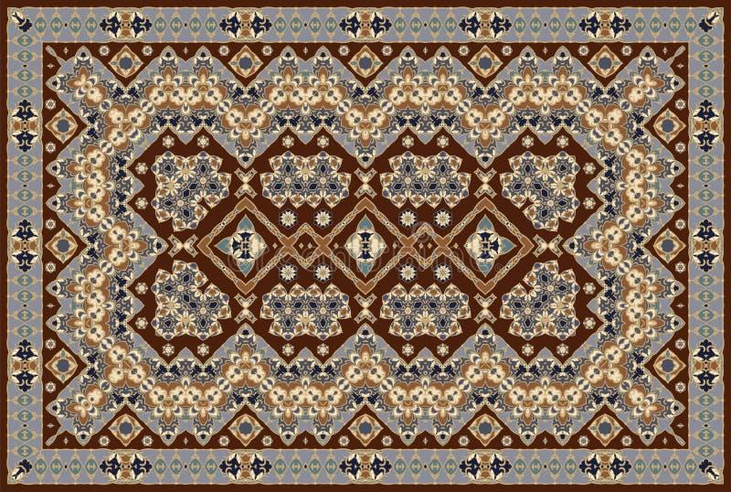 Persian colored carpet. Vintage Arabic pattern. Persian colored carpet. Rich ornament for fabric design, handmade, interior decoration, textiles. Brown stock illustration