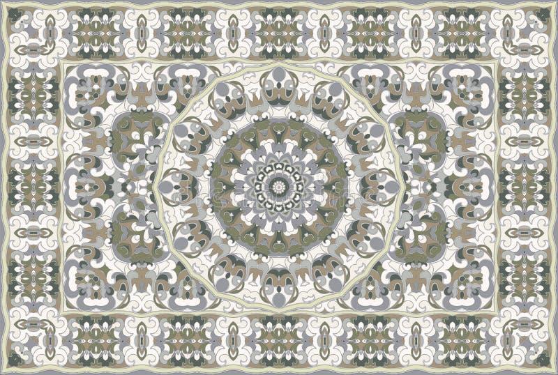 Persian colored carpet. Vintage Arabic pattern. Persian colored carpet. Rich ornament for fabric design, handmade, interior decoration, textiles. Green stock illustration