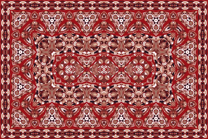 Persian colored carpet. Vintage Arabic pattern. Persian colored carpet. Rich ornament for fabric design, handmade, interior decoration, textiles. Red background vector illustration