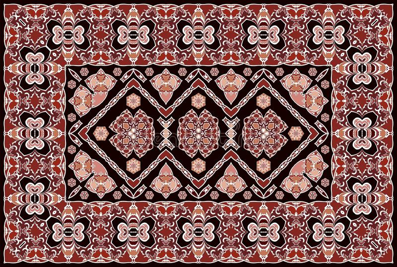Persian colored carpet. Vintage Arabic pattern. Persian colored carpet. Rich ornament for fabric design, handmade, interior decoration, textiles. Red background royalty free illustration