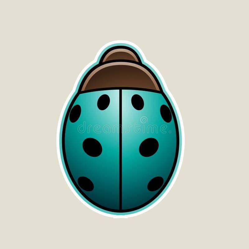Persian Green Cartoon Ladybug Icon Vector Illustration. Vector Illustration of Persian Green Cartoon Ladybug Icon isolated on a White Background royalty free illustration
