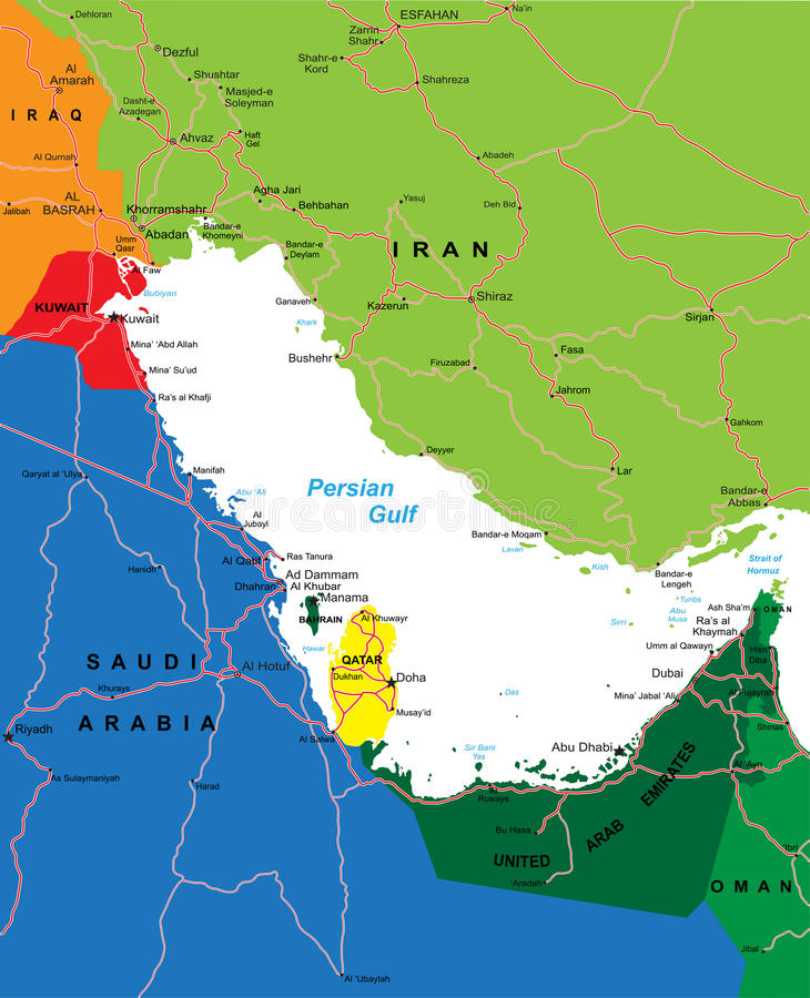 Download Persian Gulf region map stock image. Image of location - 28843269