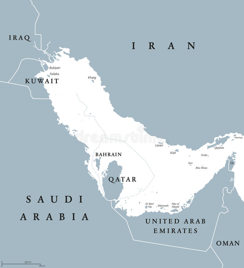 persian gulf region countries political map with english labeling body of water and extension of indian ocean through strait of hormuz between iran and