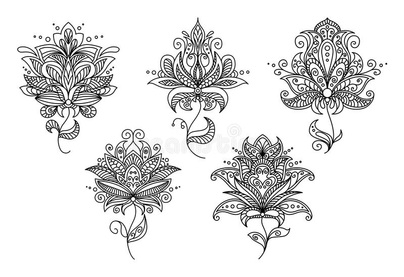 Persian and indian paisley floral elements. Set for retro design royalty free illustration
