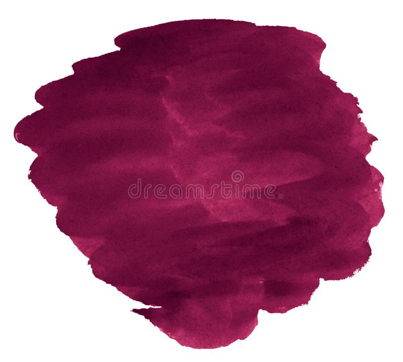 Persian red watercolor is a trend color, an isolated spot with divorces and borders. Burgundy frame with copy space stock image
