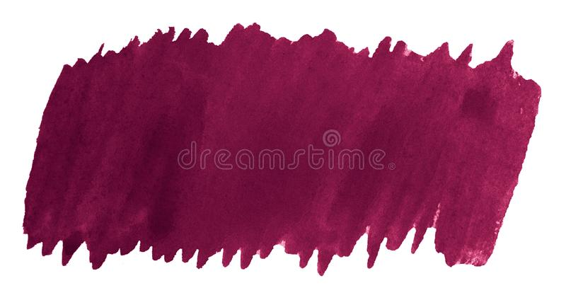 Persian red watercolor is a trend color, an isolated spot with divorces and borders. Burgundy frame with copy space royalty free stock images