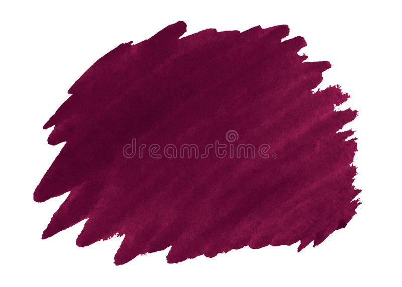Persian red watercolor is a trend color, an isolated spot with divorces and borders. Burgundy frame with copy space stock photography