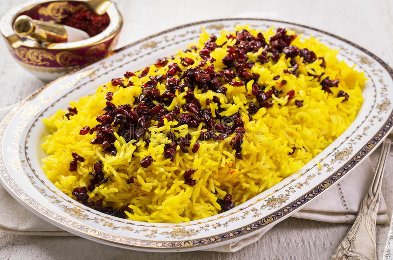 Persian Saffron Rice with Berberis royalty free stock images
