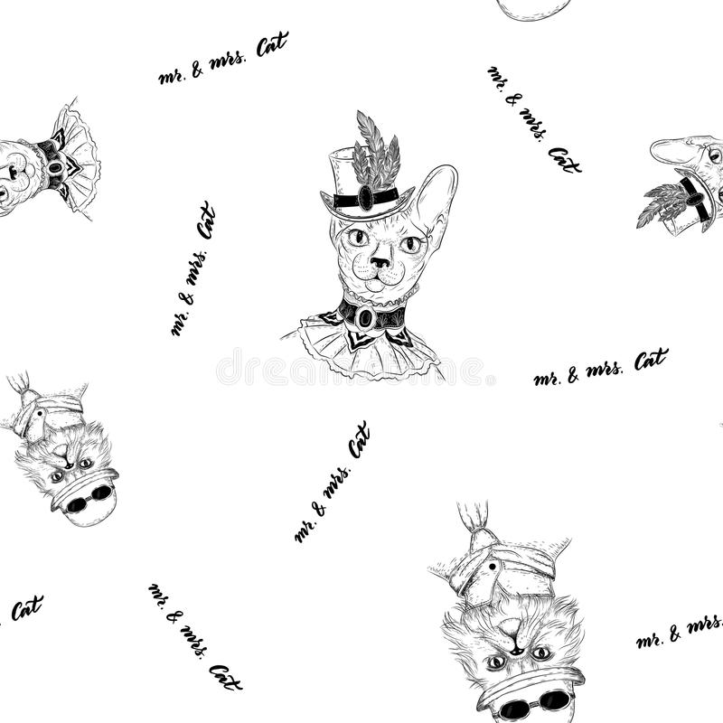 Persian and sphynx cat in steampunk or retro style. Seamless pattern. Vector character persian cat in retro bowler-hat with round sunglasses and suit and tie stock illustration