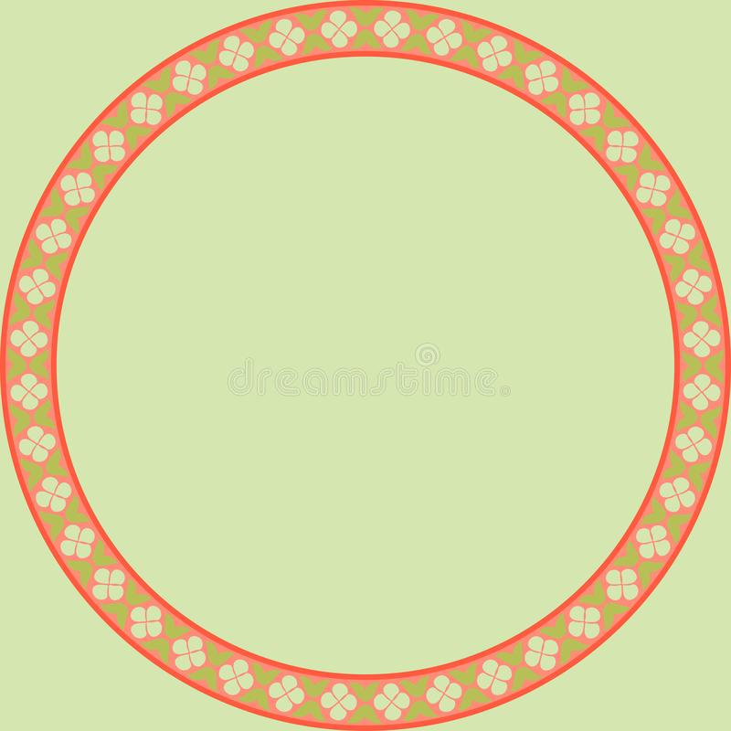 Persian traditional ornament. Round frame with floral ornament. Ancient traditions. Vector royalty free illustration