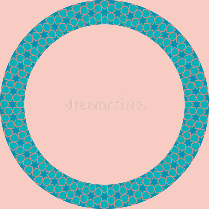 Persian traditional ornament. Round frame with geometric ornament. Ancient traditions. Vector vector illustration