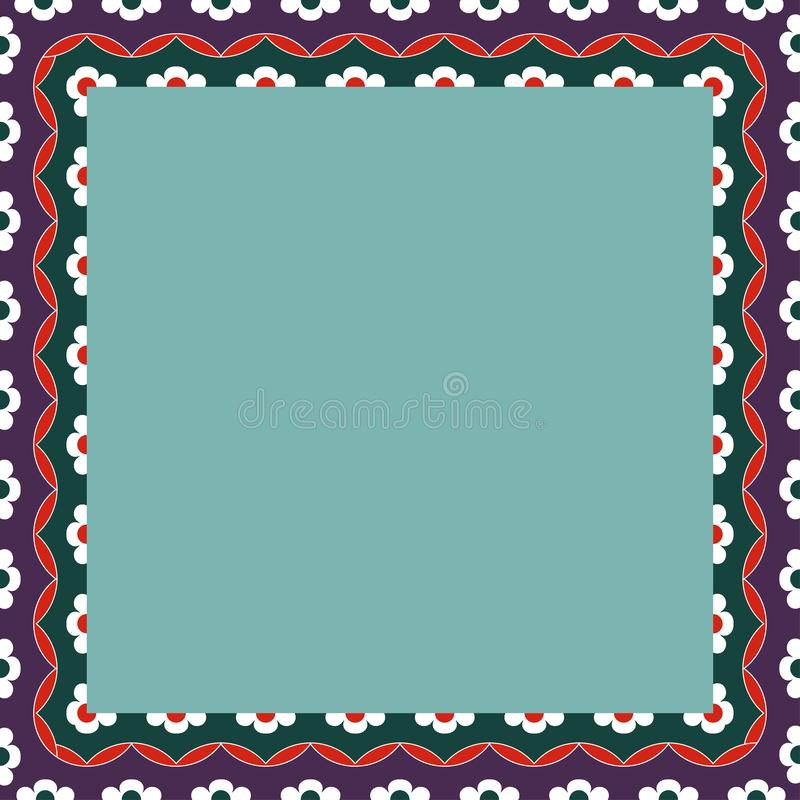 Persian traditional ornament. Square frame with floral ornament. Ancient traditions. Vector stock illustration
