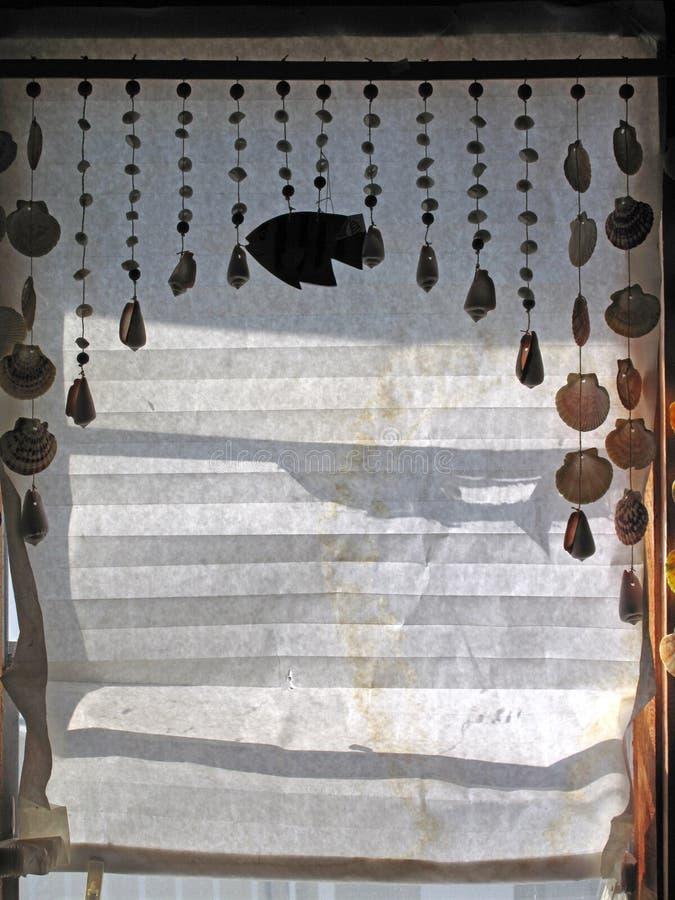 Persianas iluminadas por el sol del papel con las conchas marinas fotografía de archivo