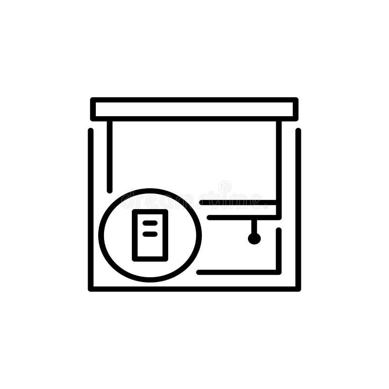 Persianas y sombras Protección de Sun Diferentes tipos de persiana con teledirigido Línea colección del icono ilustración del vector