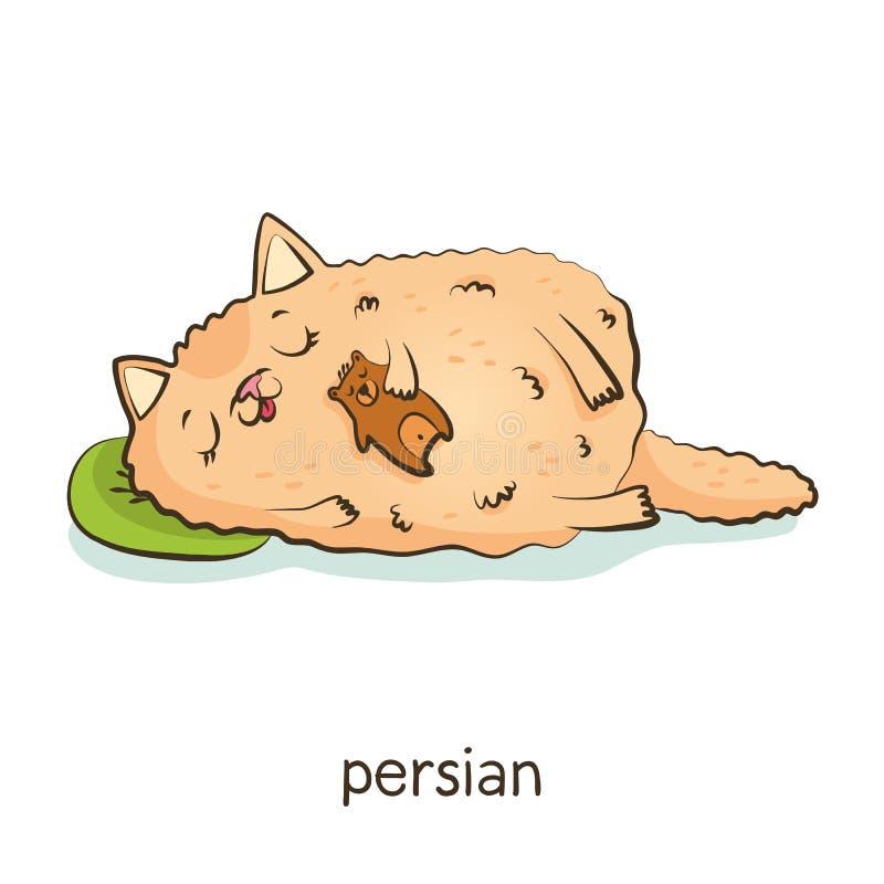 persiano Carattere del gatto su bianco royalty illustrazione gratis