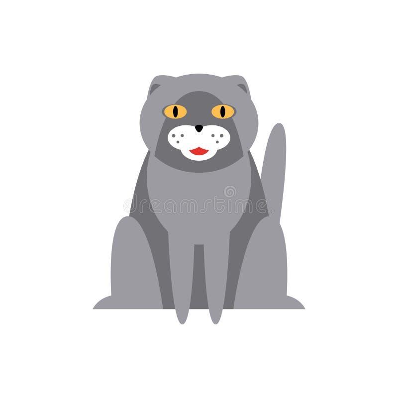Persiano Cat Breed Primitive Cartoon Illustration illustrazione vettoriale
