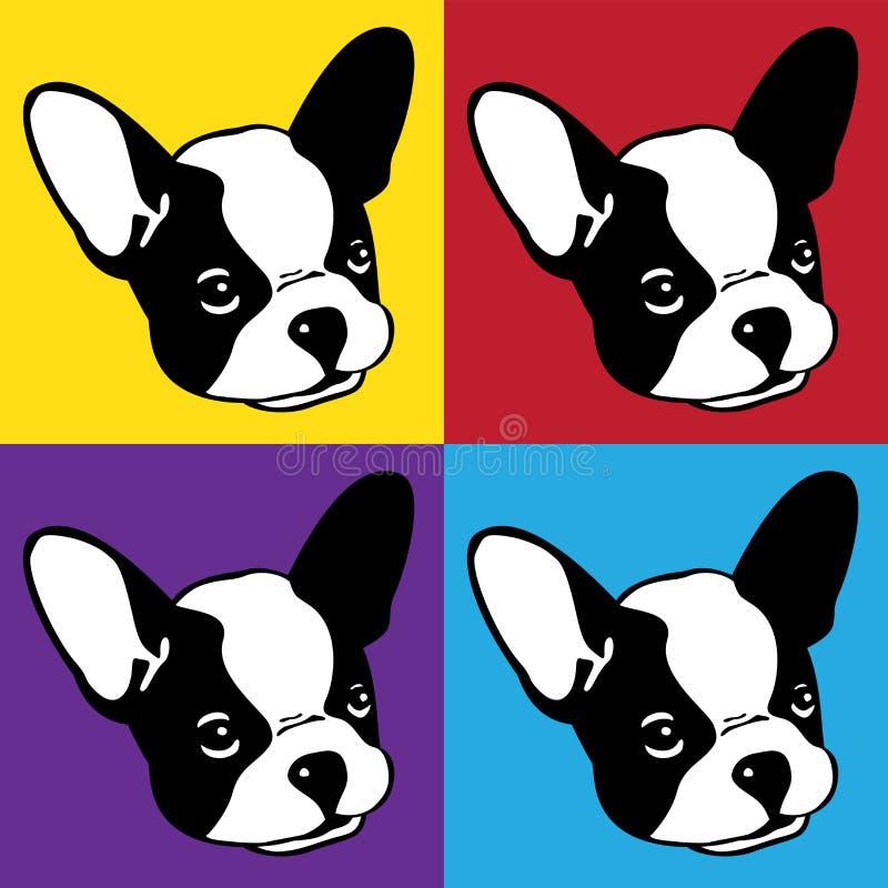 Persiga el ejemplo de la historieta del arte pop de la cabeza de la cara del logotipo del icono del dogo francés del vector libre illustration