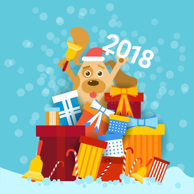 Persiga en Santa Hat Holding Bell And 2018 firman encima la pila de diseño de la tarjeta de felicitación de la Feliz Año Nuevo de libre illustration