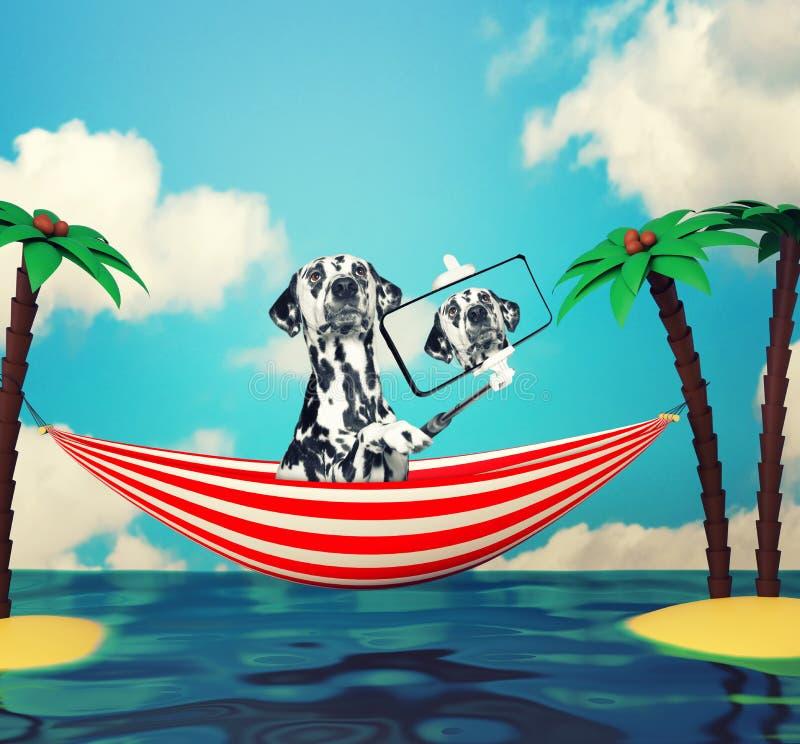 Persiga a fatura do selfie e o relaxamento na praia fotografia de stock royalty free