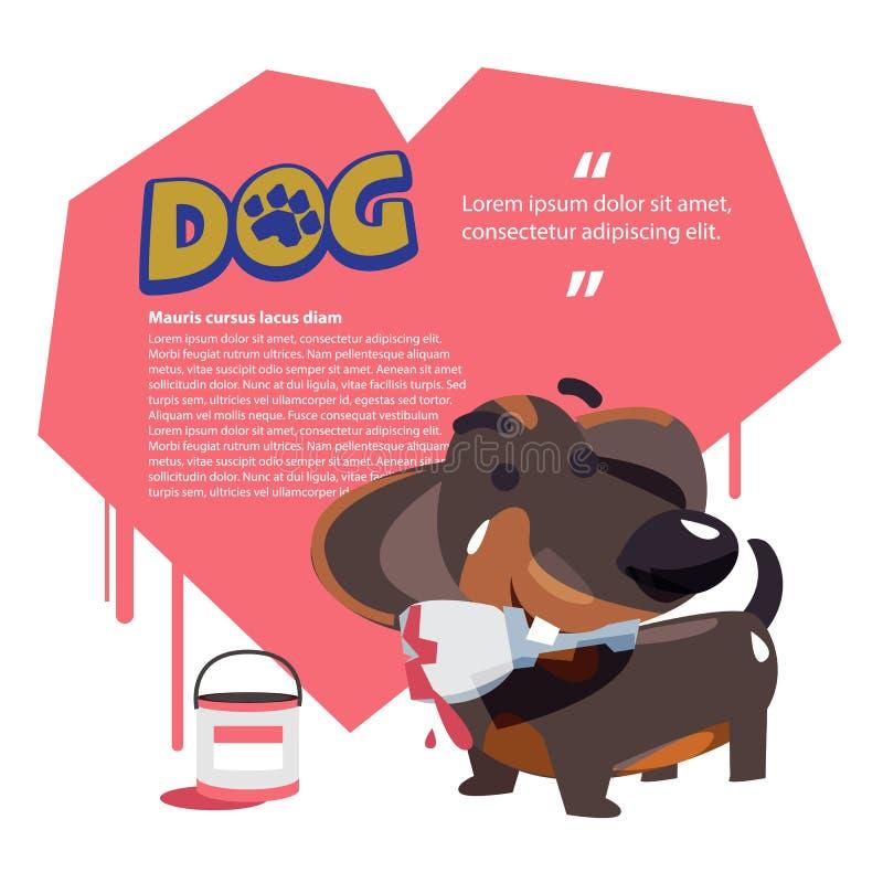 Persiga guardar a escova de pintura com coração no fundo llove do cão c ilustração do vetor