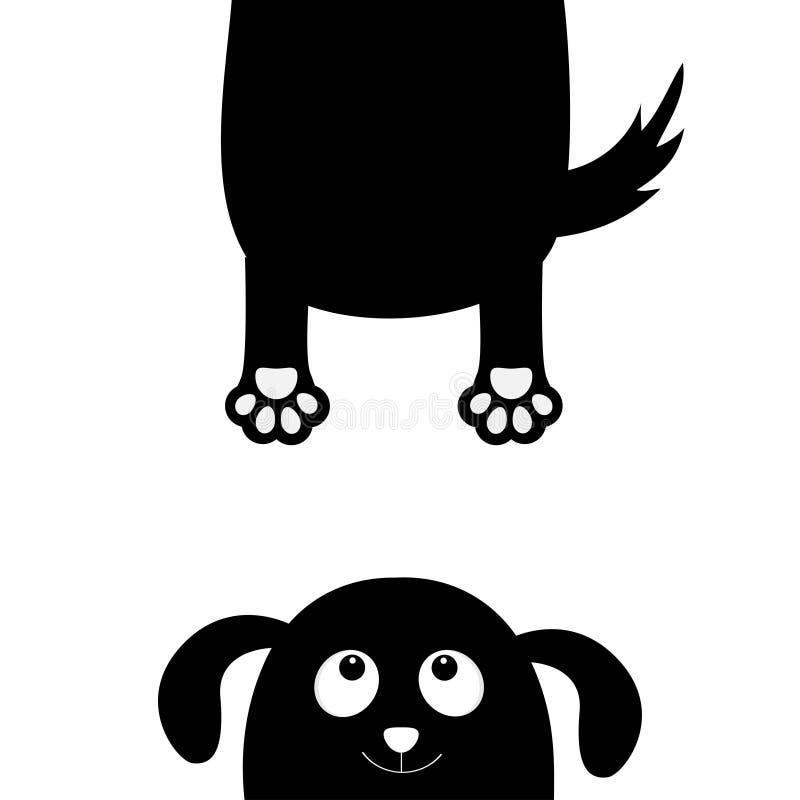Persiga la silueta del negro de la cara del perrito que levanta las manos Colección del animal doméstico Chucho, abrazo de la imp libre illustration