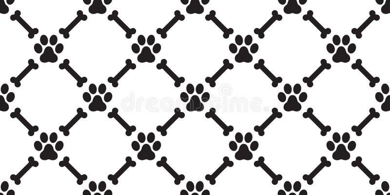 Persiga o fundo isolado vetor do papel de parede do gato do cachorrinho do osso de cão do teste padrão de Paw Seamless ilustração stock