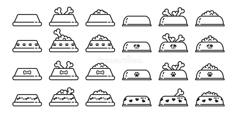 Persiga o gráfico do clipart da ilustração dos desenhos animados do coração da pata do osso do alimento para cães do símbolo do b ilustração do vetor