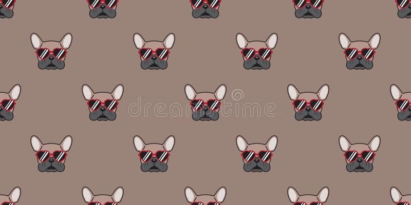Persiga o marrom vermelho isolado sem emenda da ilustração do fundo do papel de parede dos desenhos animados dos vidros dos óculo ilustração do vetor