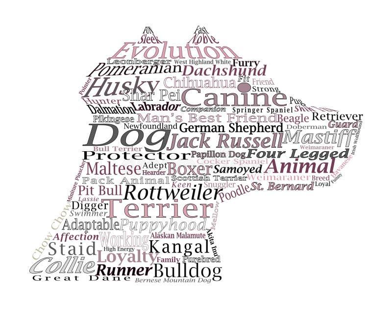 Persiga os conceitos caninos Ide da ilustração da tipografia da nuvem da palavra da raça fotografia de stock royalty free